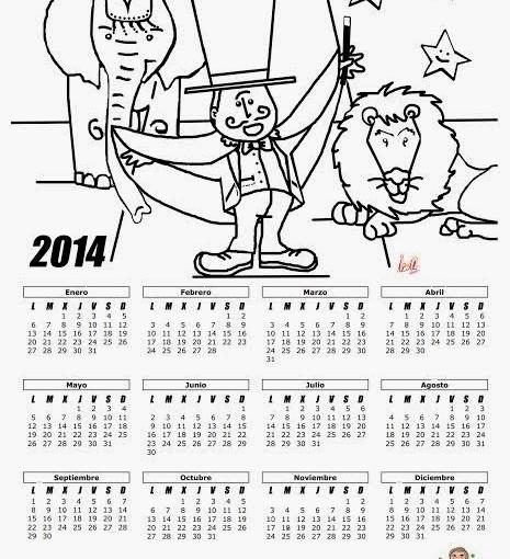 Calendario para colorear -