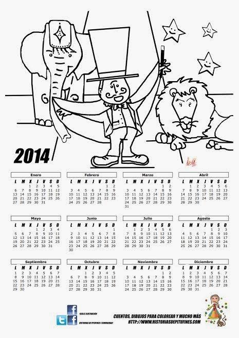 Calendario para colorear