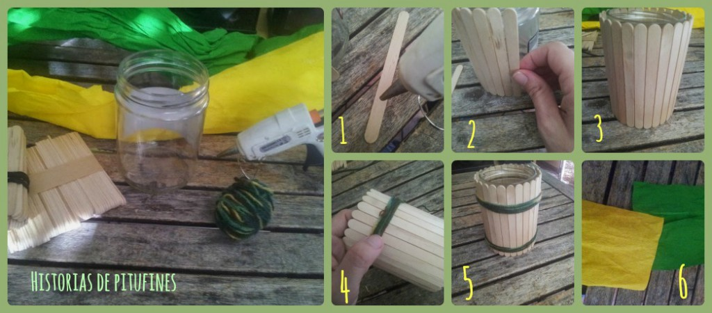 Tarro decorado con palitos para el retopapelisimo - Como hacer un altillo de madera ...