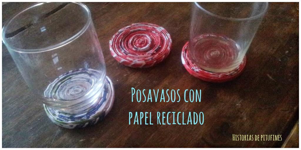 posavasos con papel reciclado