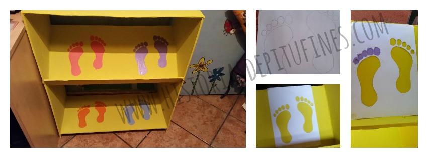 zapatero infantil con cartón
