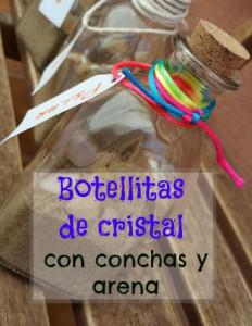 Botellitas de cristal con conchas y arena