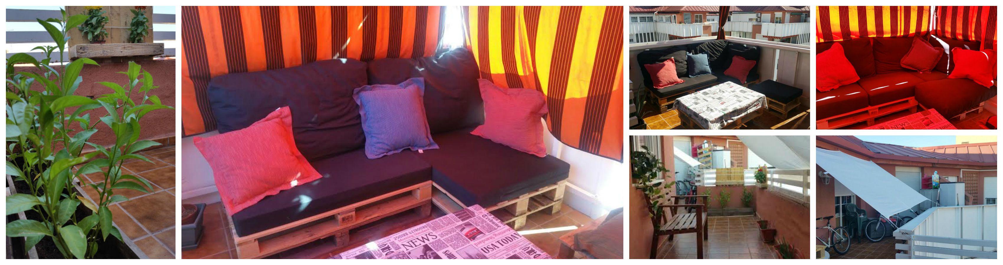 mesa y sofas de palet
