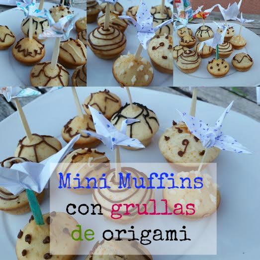 Mini Muffins con decoración grullas de origami