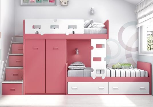 Litera de una cama con escalones con armario escritorio - Escalera cama infantil ...