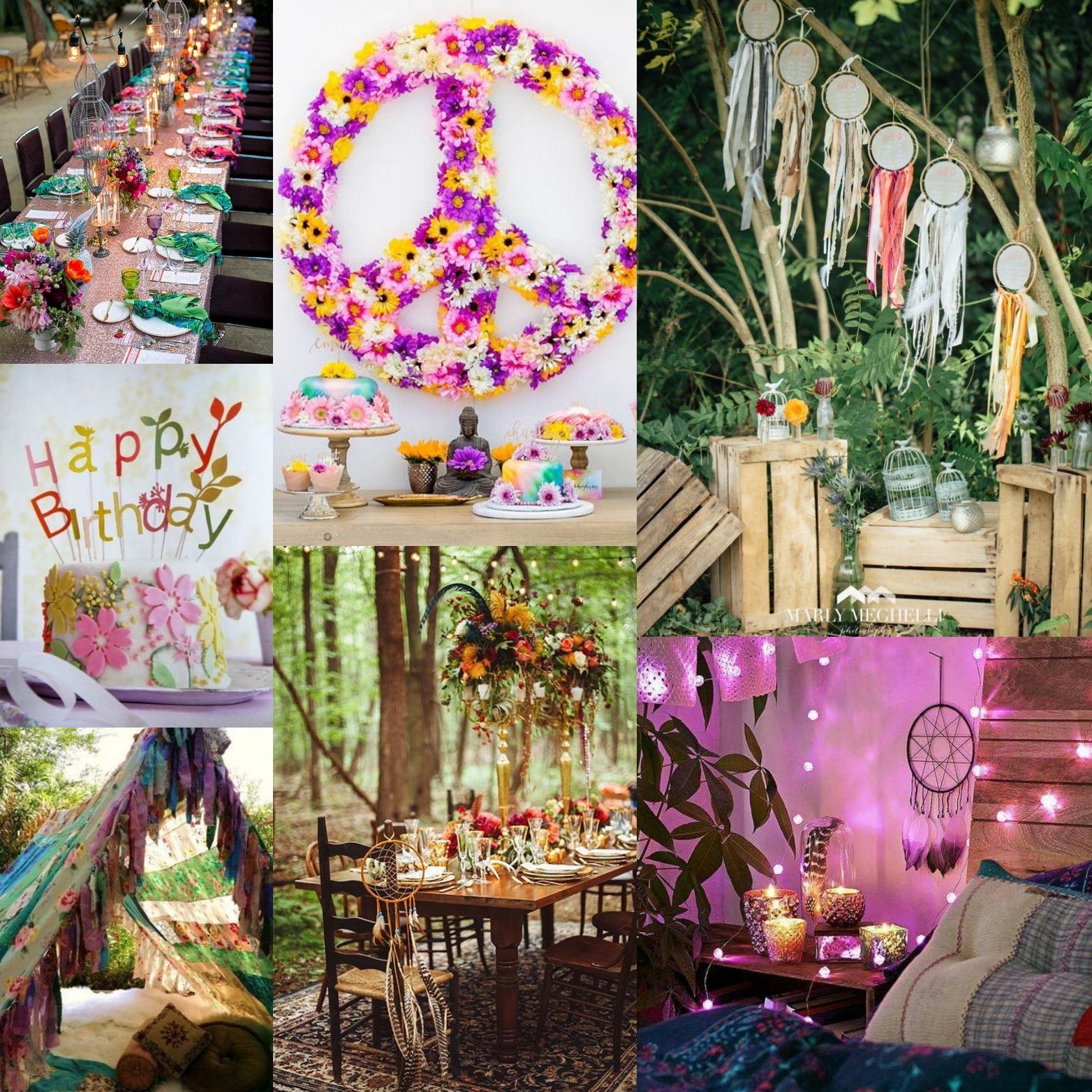 fiesta de cumpleaños hippie chic
